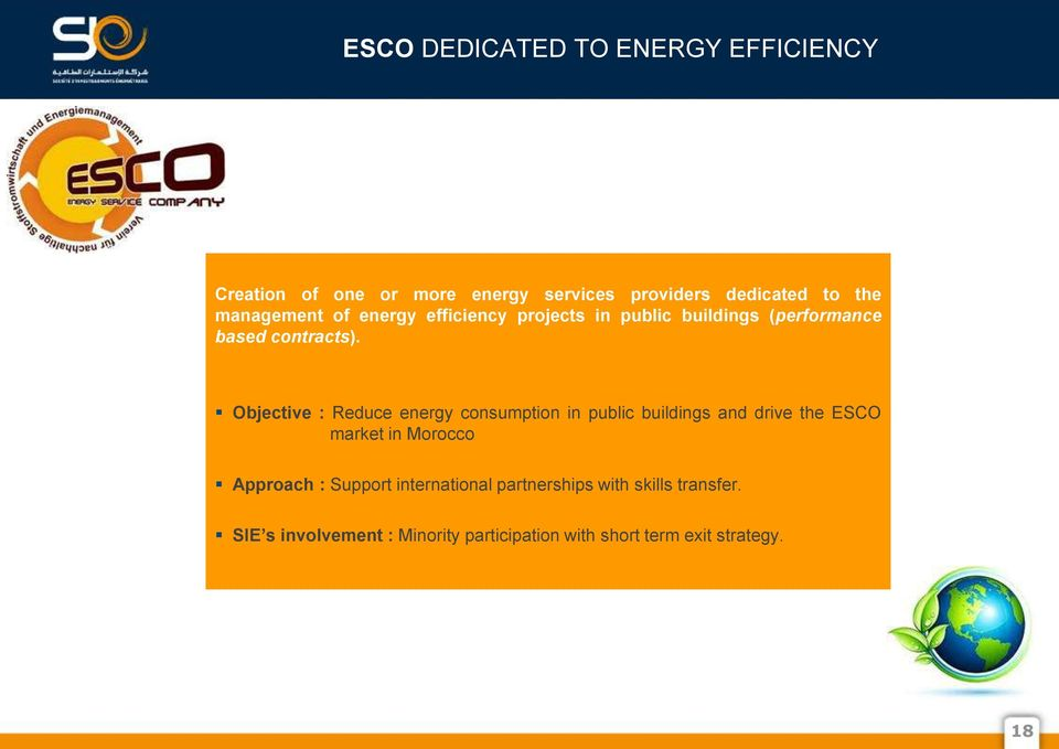 Objective : Reduce energy consumption in public buildings and drive the ESCO market in Morocco Approach :