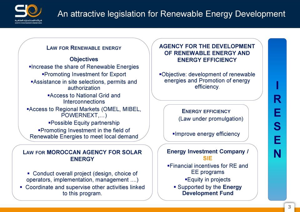Energies to meet local demand LAW FOR MOROCCAN AGENCY FOR SOLAR ENERGY Conduct overall project (design, choice of operators, implementation, management.