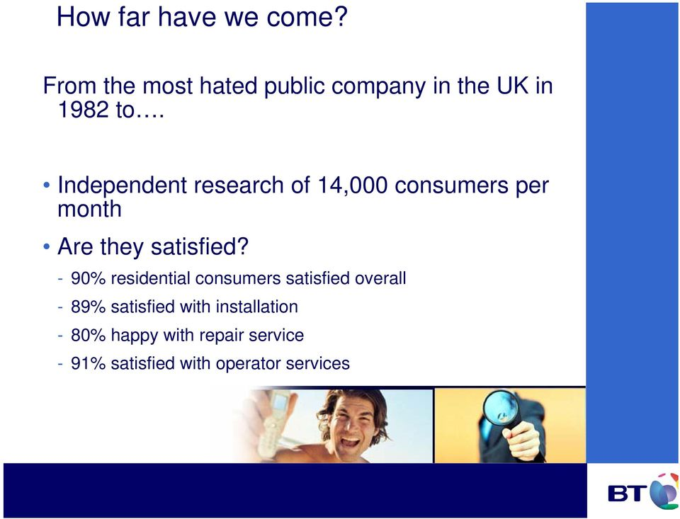 Independent research of 14,000 consumers per month Are they satisfied?