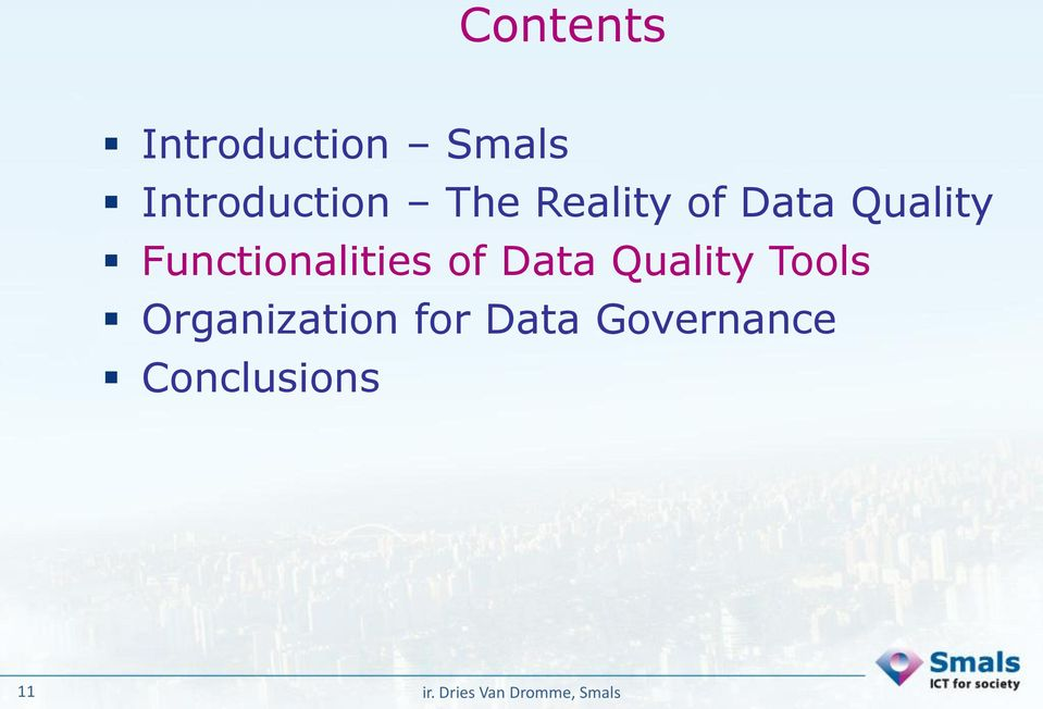 Quality Functionalities of Data