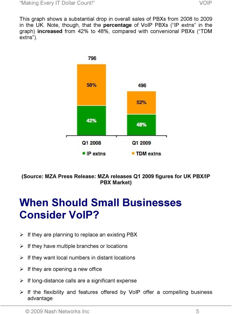 (Source: MZA Press Release: MZA releases Q1 2009 figures for UK PBX/IP PBX Market) When Should Small Businesses Consider VoIP?