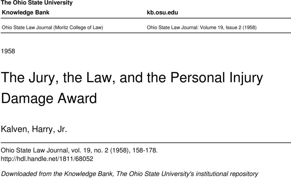 1958 The Jury, the Law, and the Personal Injury Damage Award Kalven, Harry, Jr.