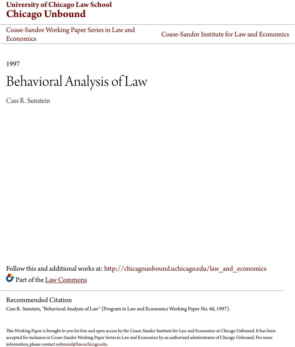 "Sunstein, ""Behavioral Analysis of Law"" (Program in Law and Economics Working Paper No. 46, 1997)."