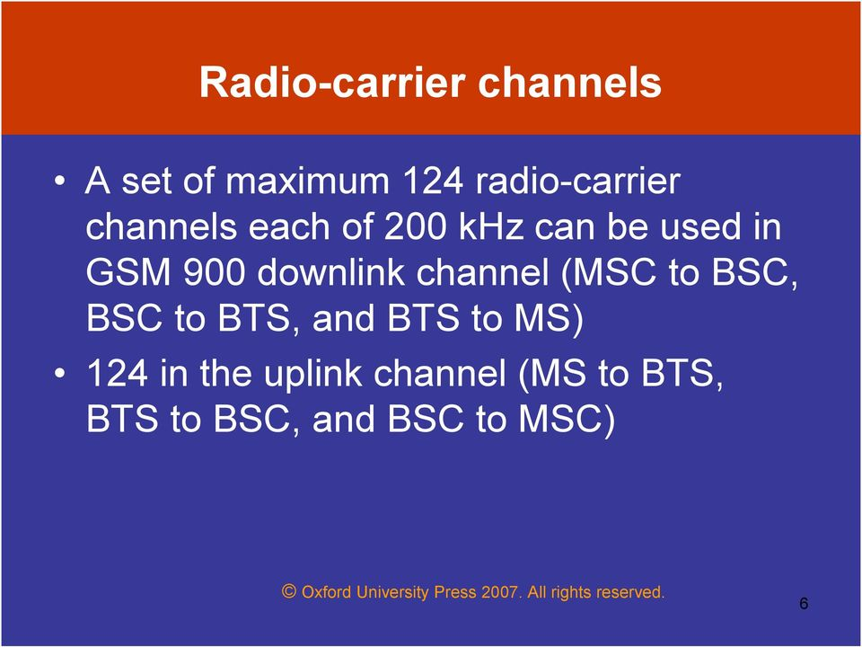 channel (MSC to BSC, BSC to BTS, and BTS to MS) 124 in