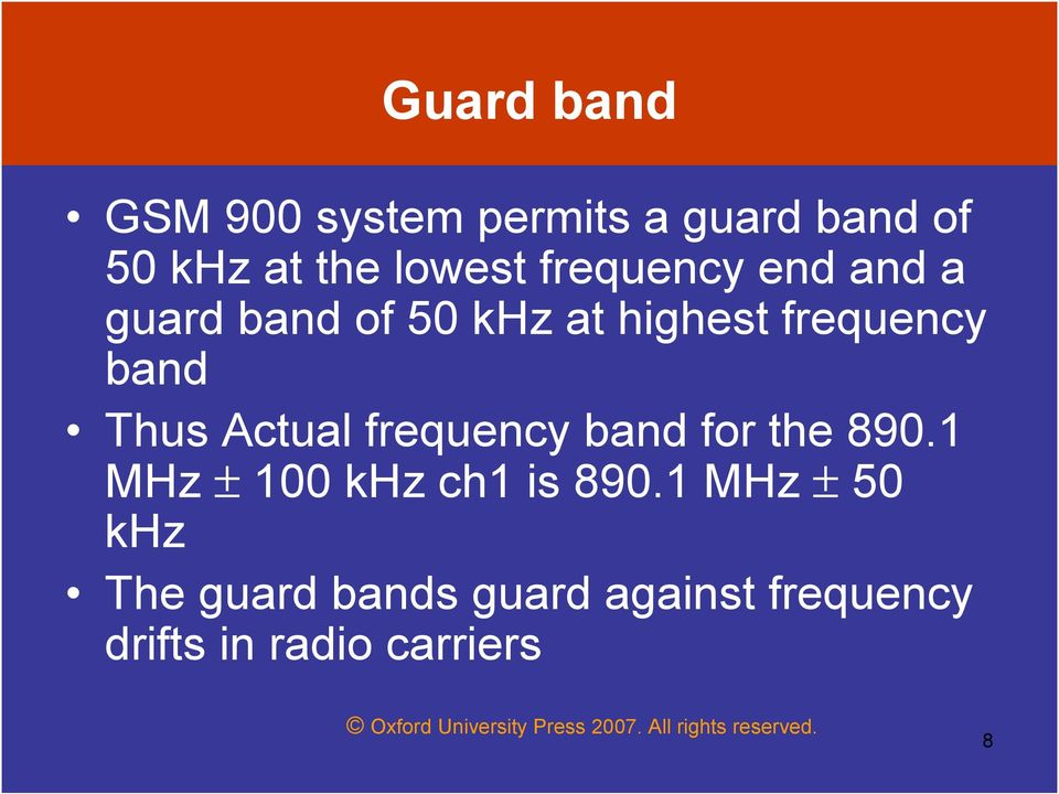 Actual frequency band for the 890.1 MHz ± 100 khz ch1 is 890.
