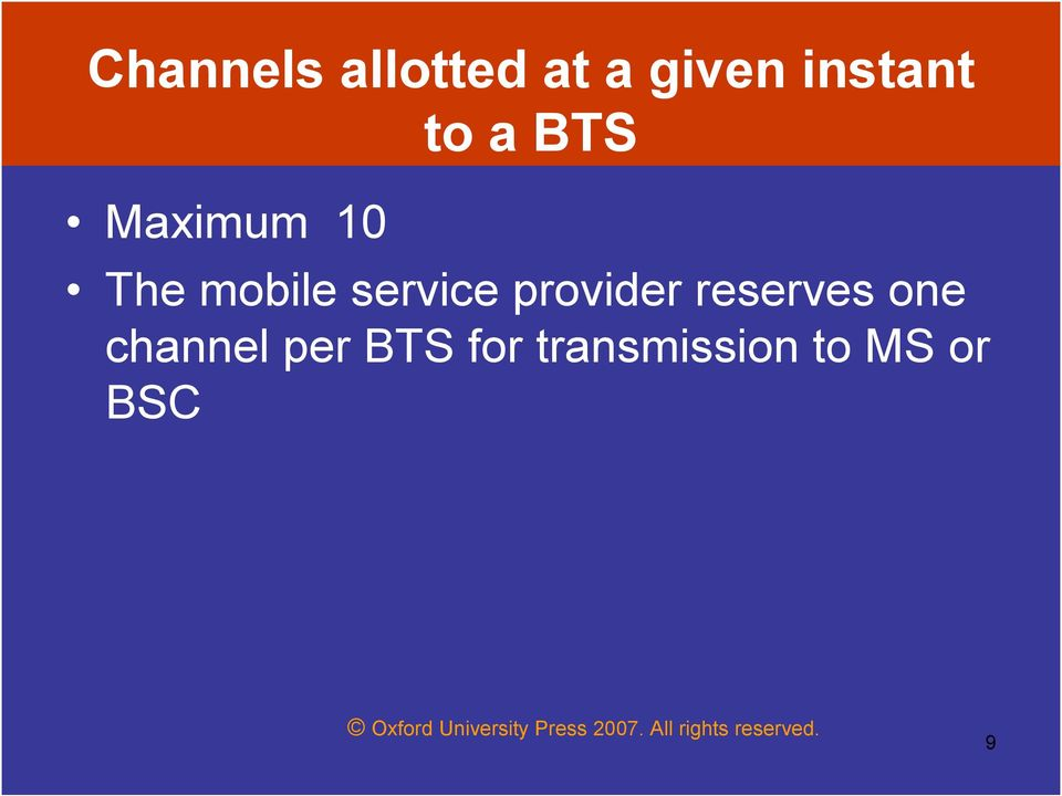 service provider reserves one