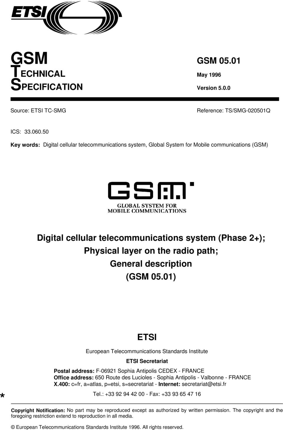 General description (GSM 05.