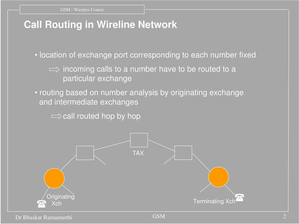routing based on number analysis by originating exchange and intermediate exchanges