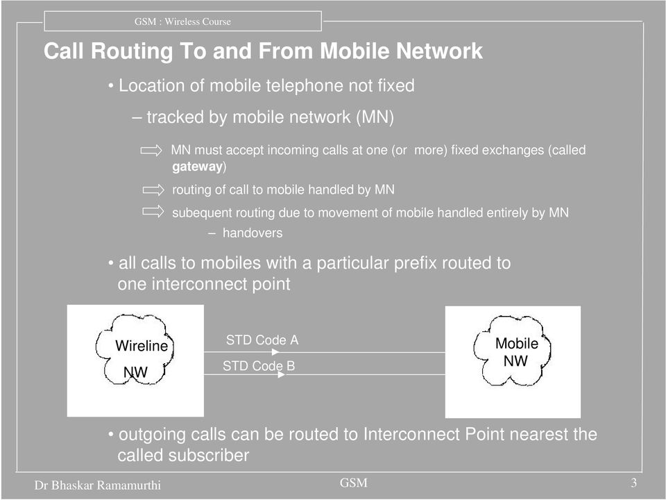 mobile handled entirely by MN handovers all calls to mobiles with a particular prefix routed to one interconnect point Wireline NW STD