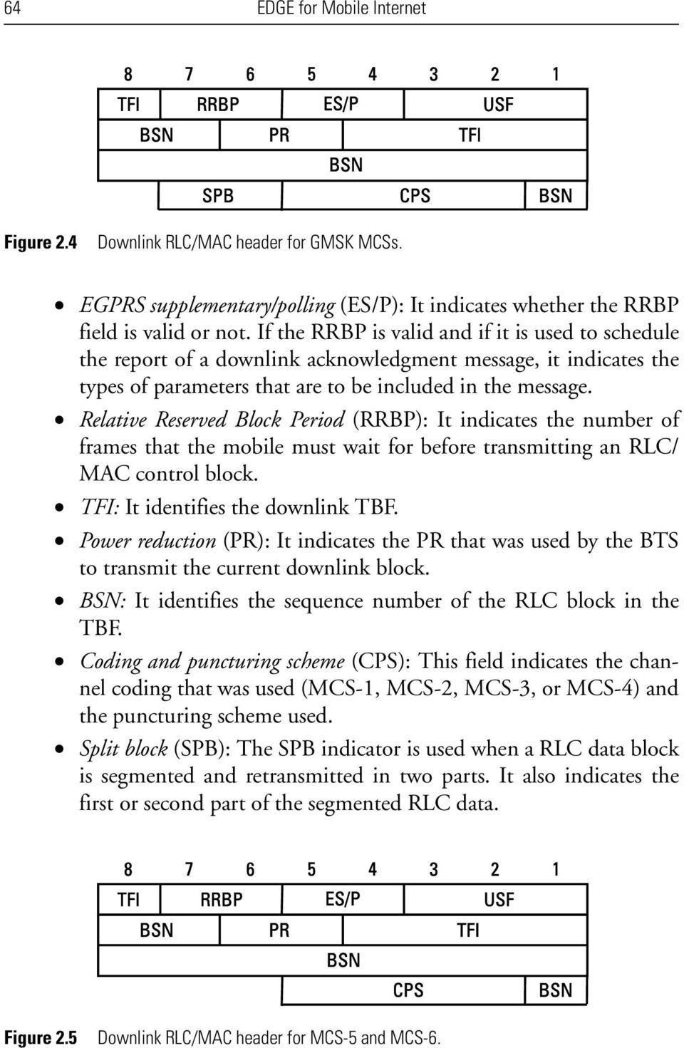 Relative Reserved Block Period (RRBP): It indicates the number of frames that the mobile must wait for before transmitting an RLC/ MAC control block. TFI: It identifies the downlink TBF.