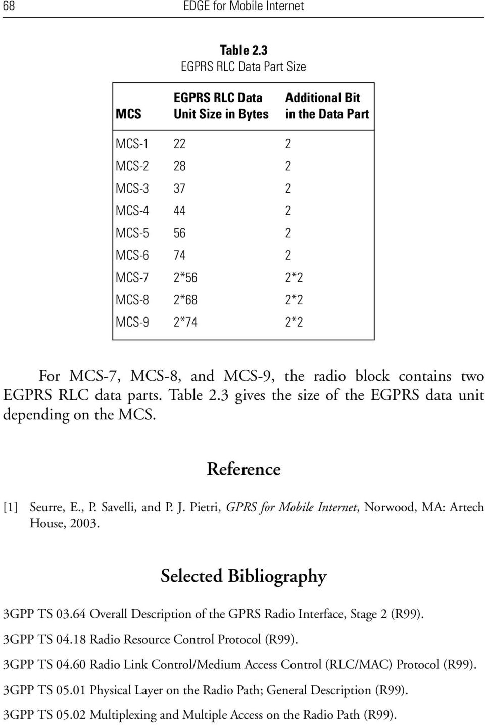 2*74 2*2 For MCS-7, MCS-8, and MCS-9, the radio block contains two EGPRS RLC data parts. Table 2.3 gives the size of the EGPRS data unit depending on the MCS. Reference [1] Seurre, E., P.
