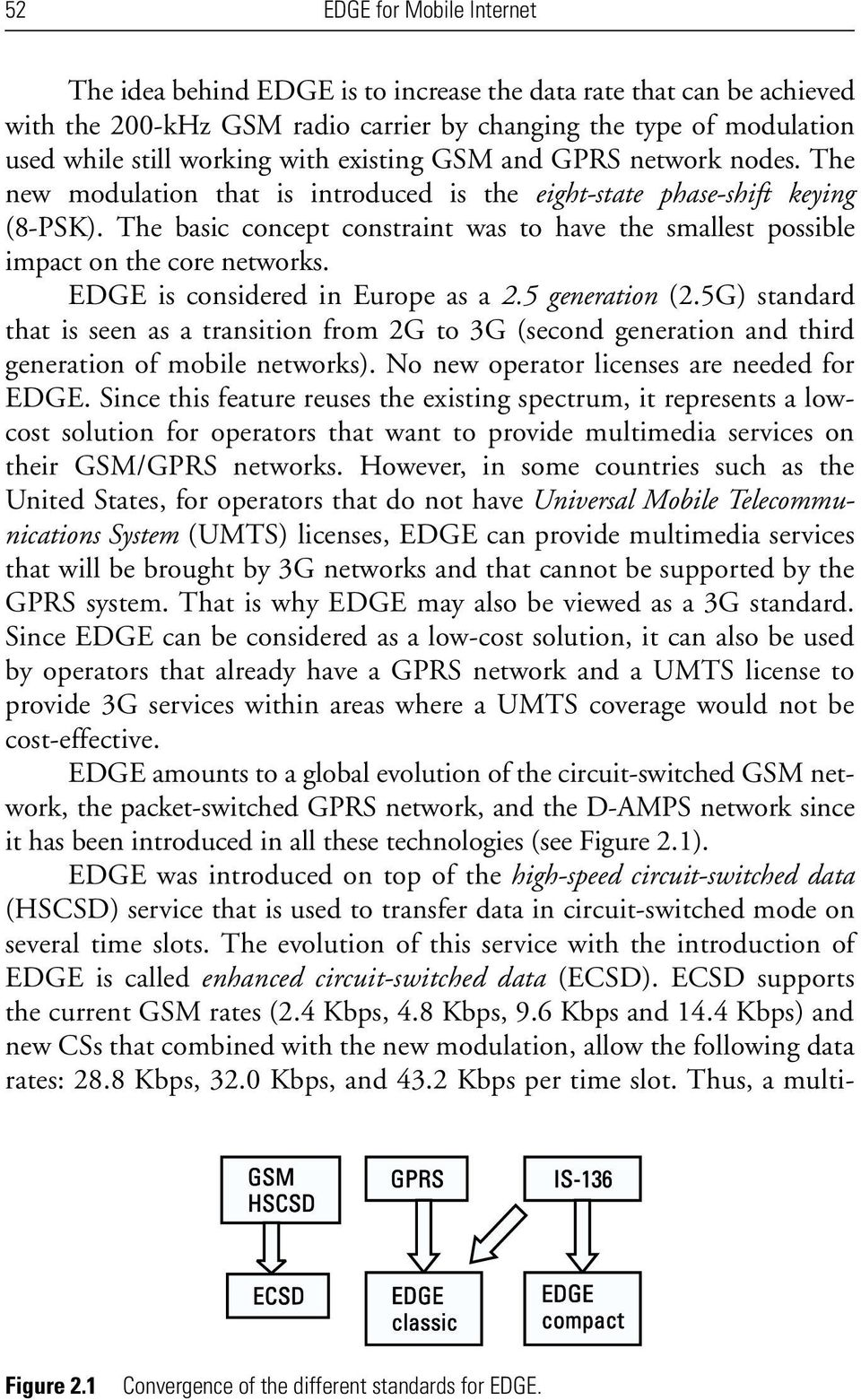 The basic concept constraint was to have the smallest possible impact on the core networks. EDGE is considered in Europe as a 2.5 generation (2.