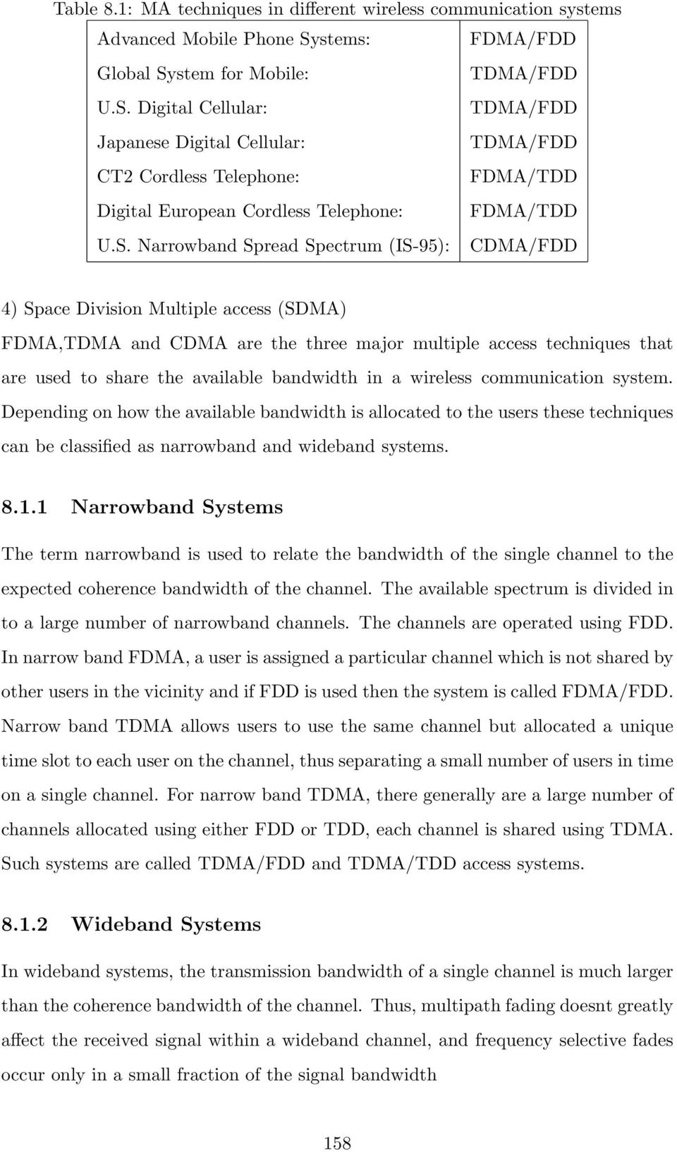 S. Narrowband Spread Spectrum (IS-95): CDMA/FDD 4) Space Division Multiple access (SDMA) FDMA,TDMA and CDMA are the three major multiple access techniques that are used to share the available