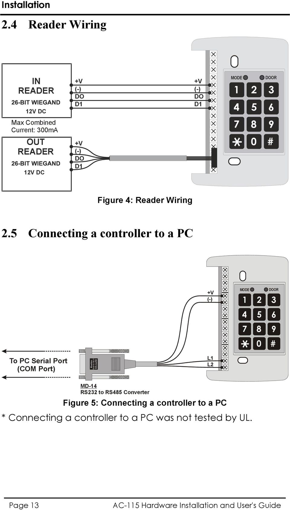 +V (-) DO D1 0 # Figure 4: Reader Wiring 2.