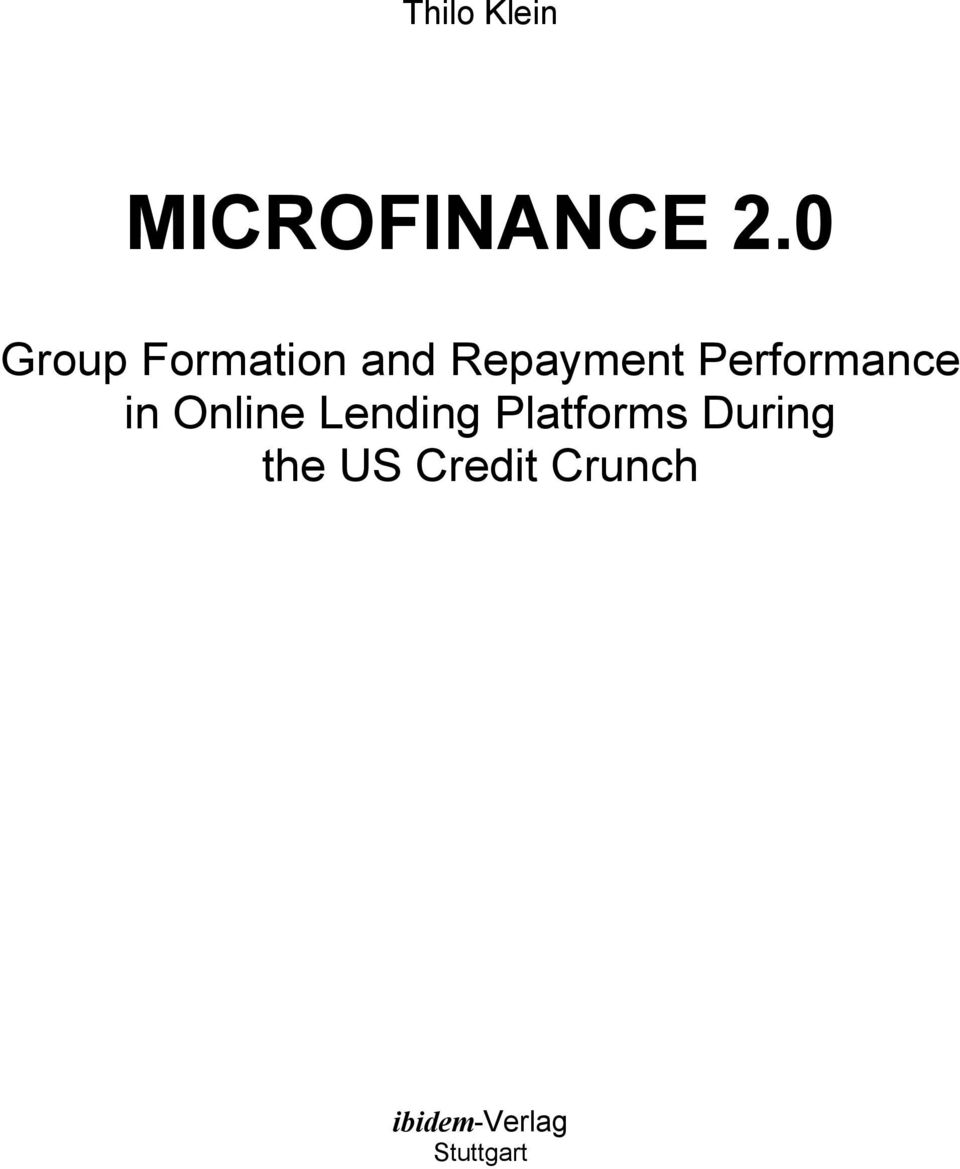 Performance in Online Lending