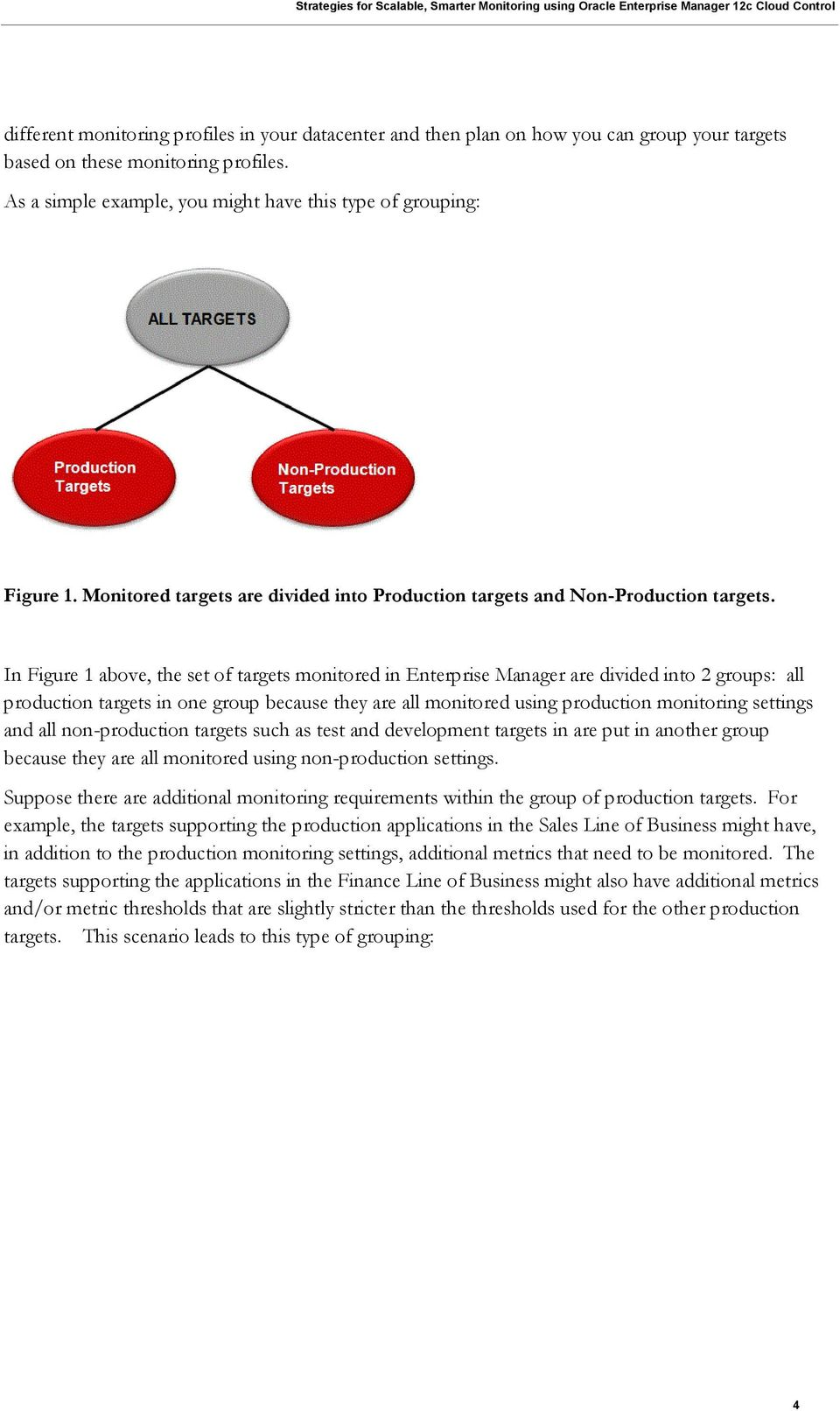 In Figure 1 above, the set of targets monitored in Enterprise Manager are divided into 2 groups: all production targets in one group because they are all monitored using production monitoring