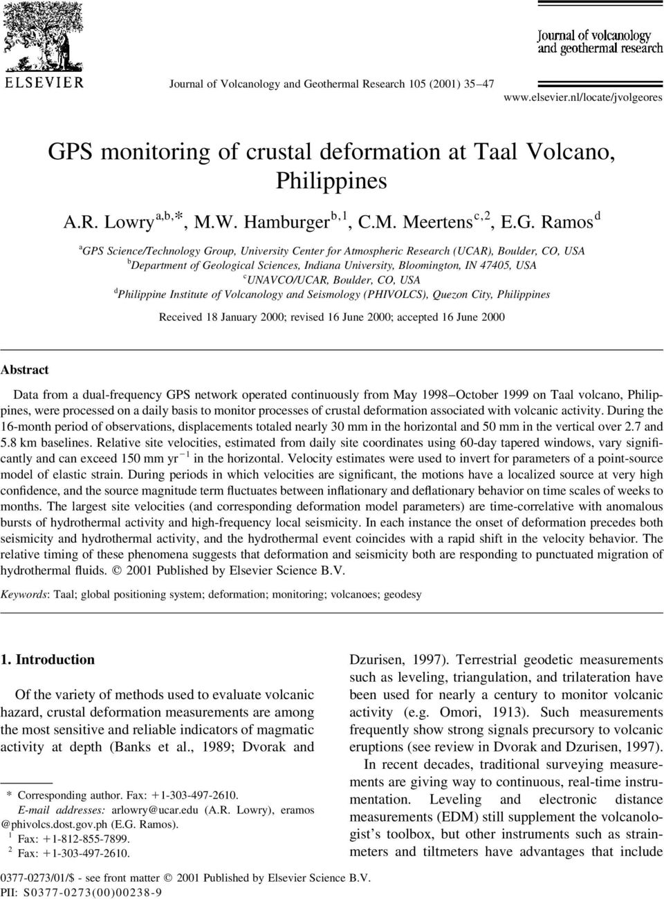 Ramos d a GPS Science/Technology Group, University Center for Atmospheric Research (UCAR), Boulder, CO, USA b Department of Geological Sciences, Indiana University, Bloomington, IN 47405, USA c