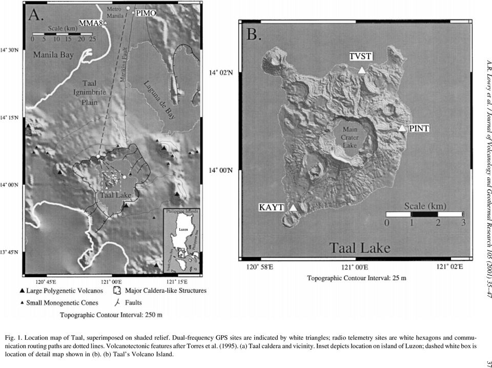 paths are dotted lines. Volcanotectonic features after Torres et al. (1995). (a) Taal caldera and vicinity.