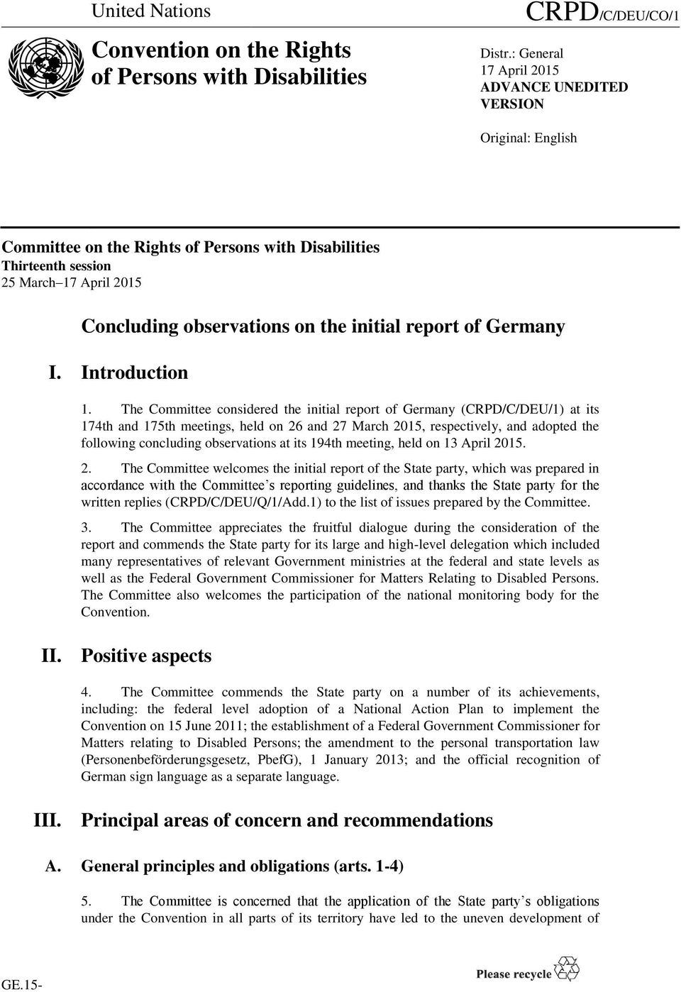 initial report of Germany I. Introduction 1.