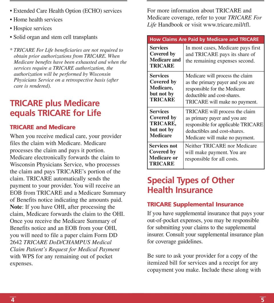 When Medicare benefits have been exhausted and when the services require a TRICARE authorization, the authorization will be performed by Wisconsin Physicians Service on a retrospective basis (after