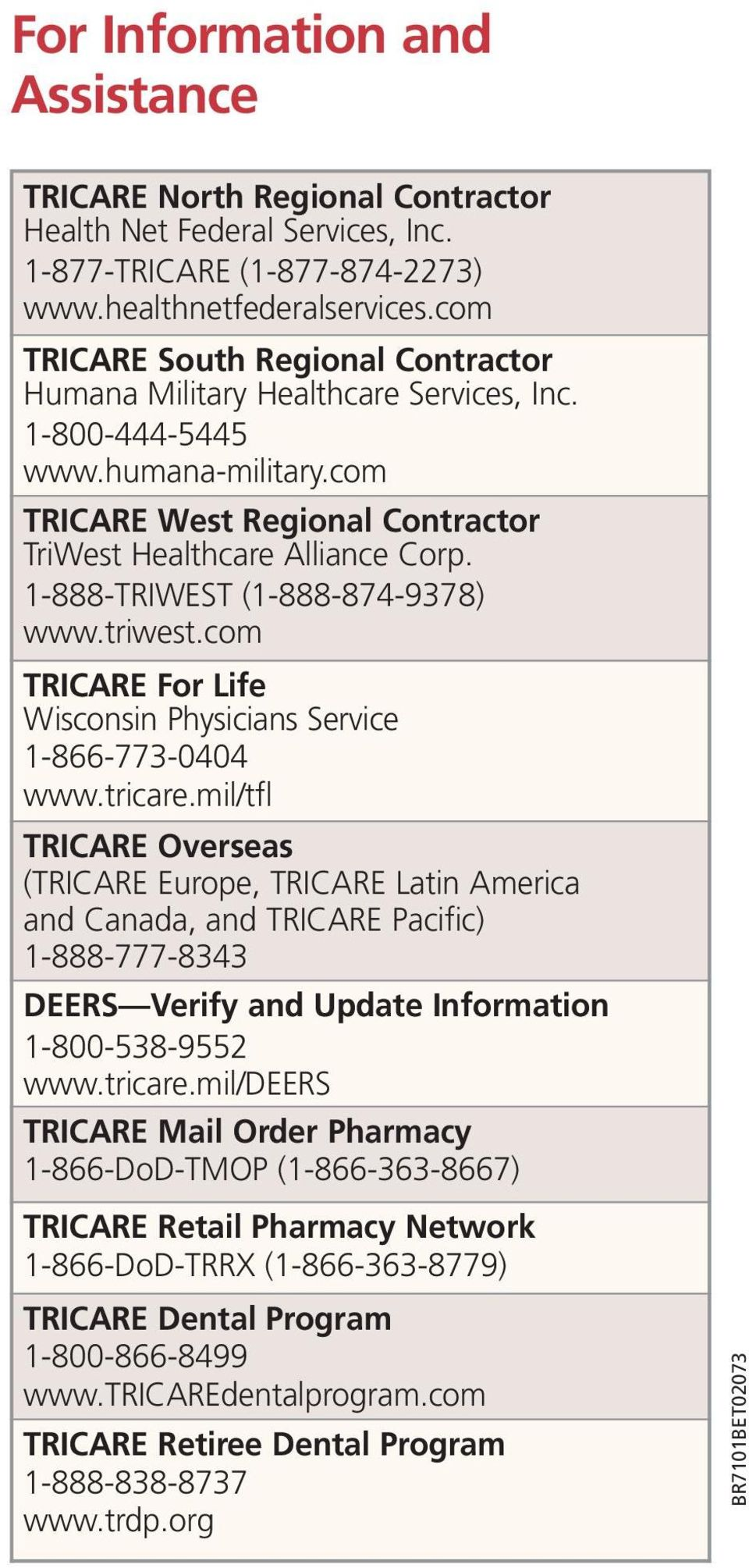 1-888-TRIWEST (1-888-874-9378) www.triwest.com TRICARE For Life Wisconsin Physicians Service 1-866-773-0404 www.tricare.