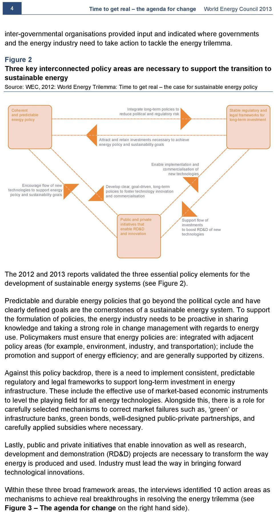 Figure 2 Three key interconnected policy areas are necessary to support the transition to sustainable energy Source: WEC, 2012: World Energy Trilemma: Time to get real the case for sustainable energy