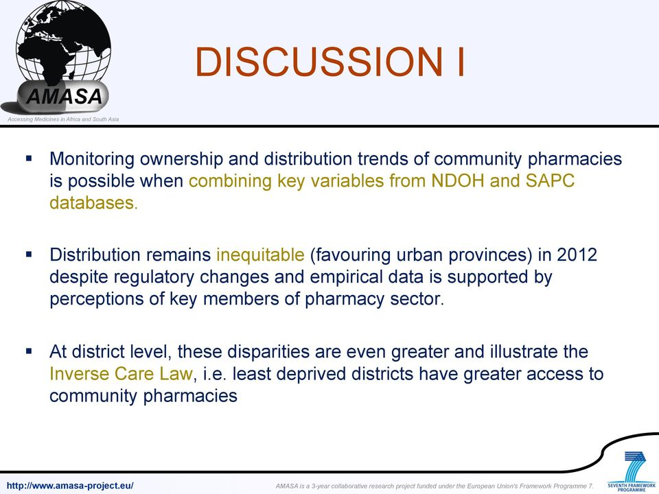 Distribution remains inequitable (favouring urban provinces) in 2012 despite regulatory changes and empirical data is