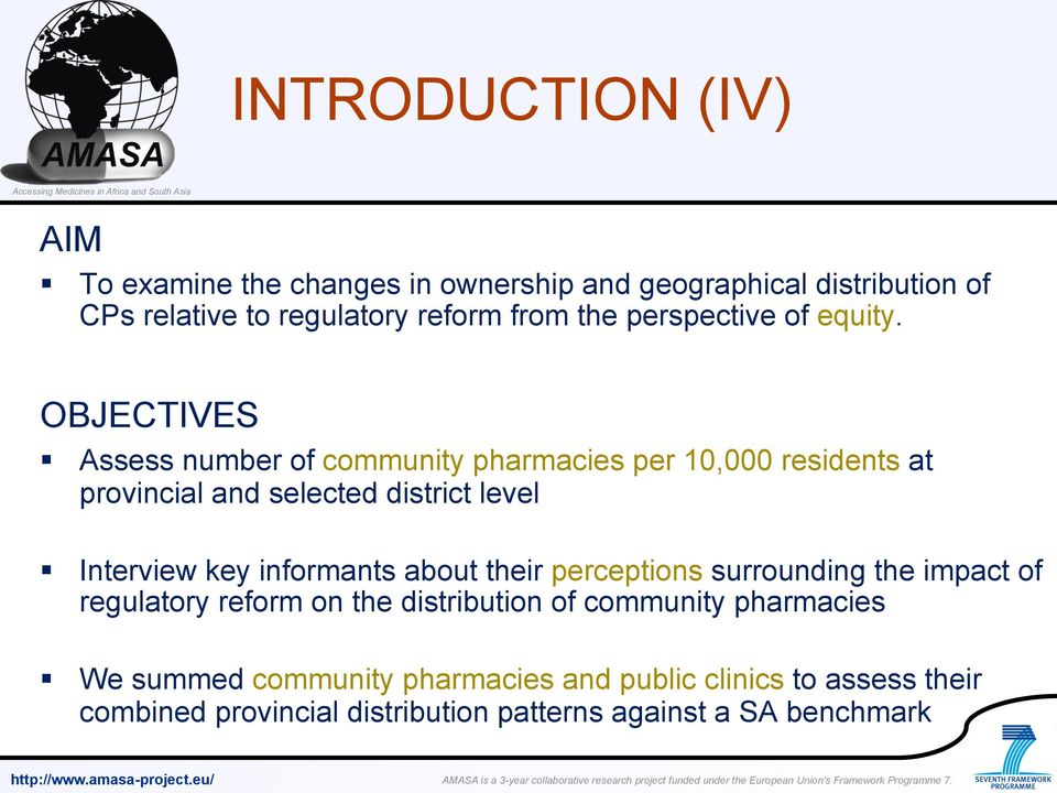 OBJECTIVES Assess number of community pharmacies per 10,000 residents at provincial and selected district level Interview key