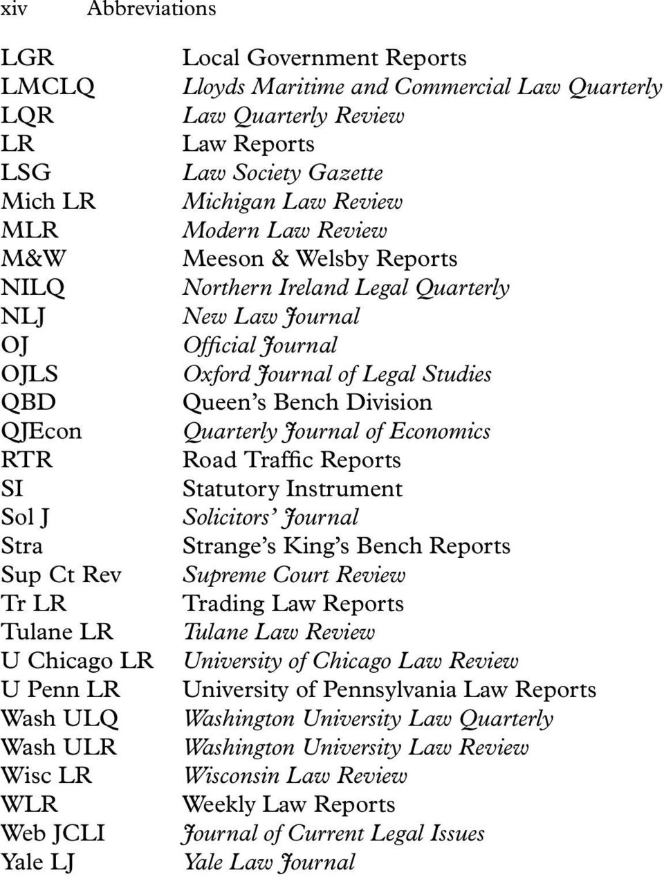 Ireland Legal Quarterly New Law Journal Official Journal Oxford Journal of Legal Studies Queen s Bench Division Quarterly Journal of Economics Road Traffic Reports Statutory Instrument Solicitors