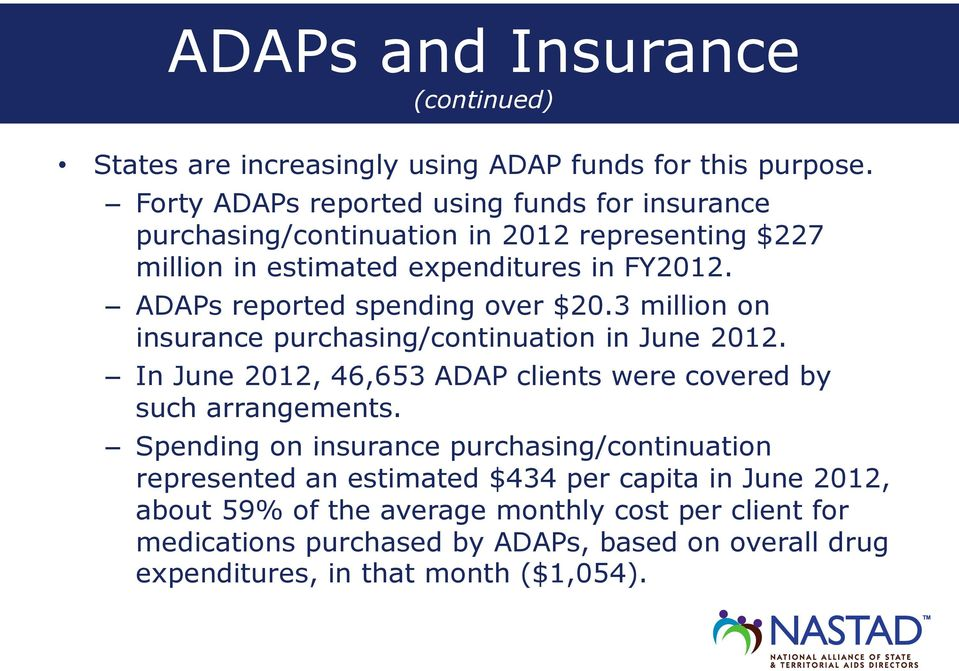 ADAPs reported spending over $20.3 million on insurance purchasing/continuation in June 2012.