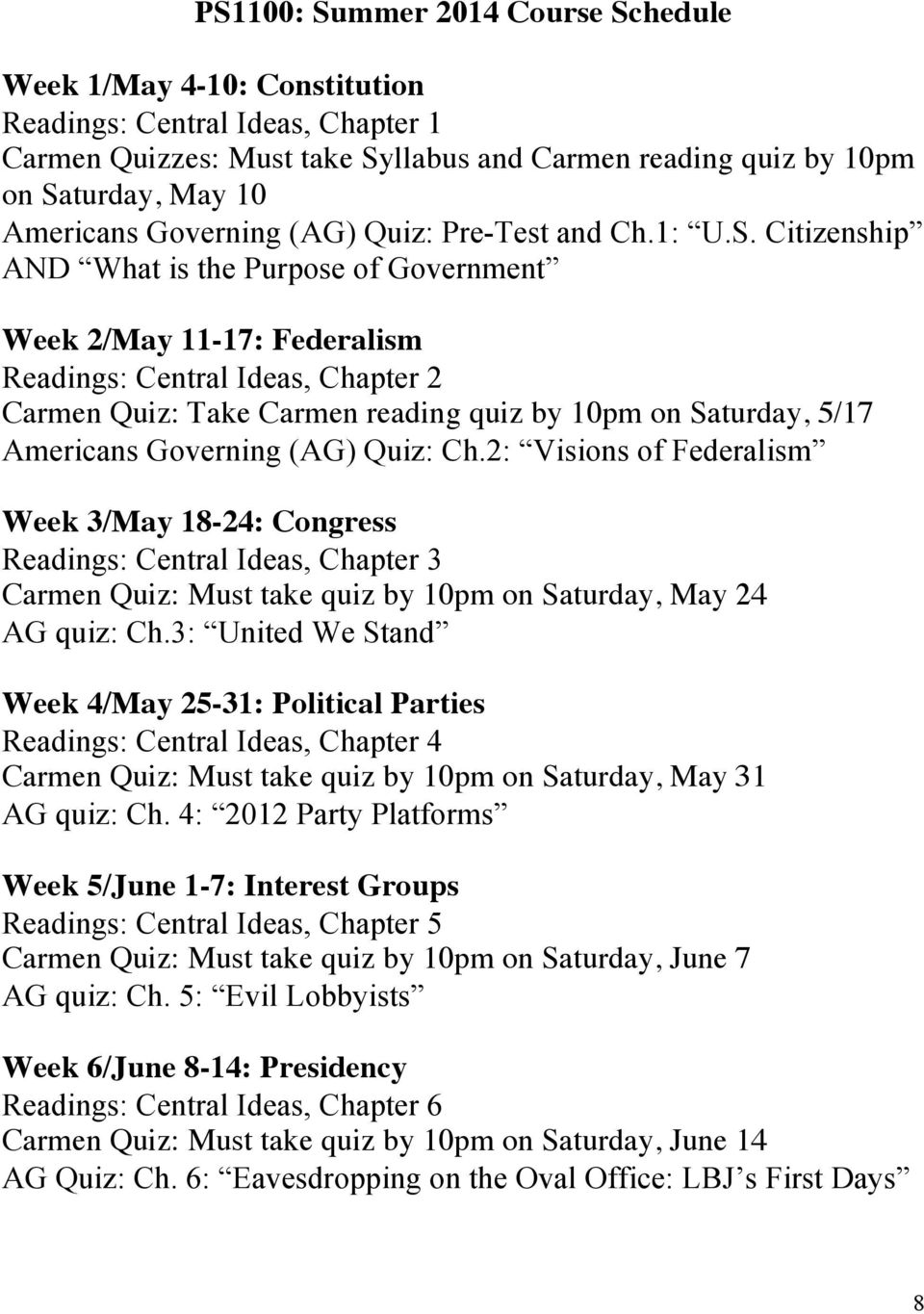 Citizenship AND What is the Purpose of Government Week 2/May 11-17: Federalism Readings: Central Ideas, Chapter 2 Carmen Quiz: Take Carmen reading quiz by 10pm on Saturday, 5/17 Americans Governing