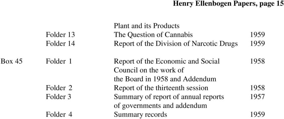 Council on the work of the Board in 1958 and Addendum Folder 2 Report of the thirteenth session 1958