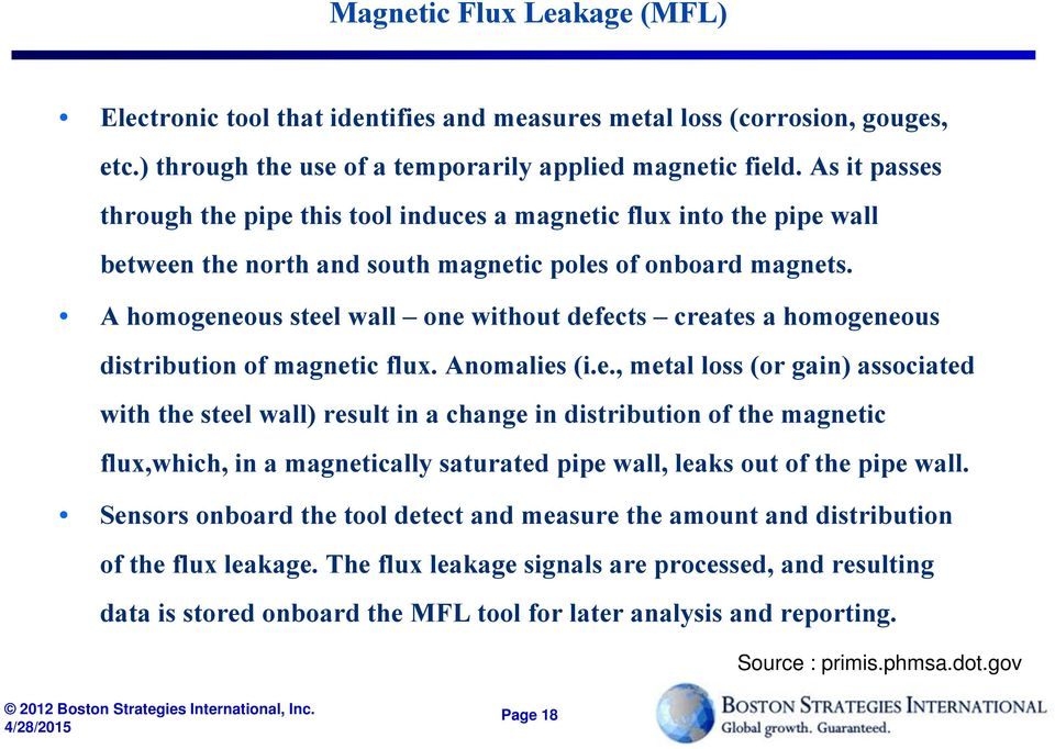 A homogeneous steel wall one without defects creates a homogeneous distribution of magnetic flux. Anomalies (i.e., metal loss (or gain) associated with the steel wall) result in a change in distribution of the magnetic flux,which, in a magnetically saturated pipe wall, leaks out of the pipe wall.