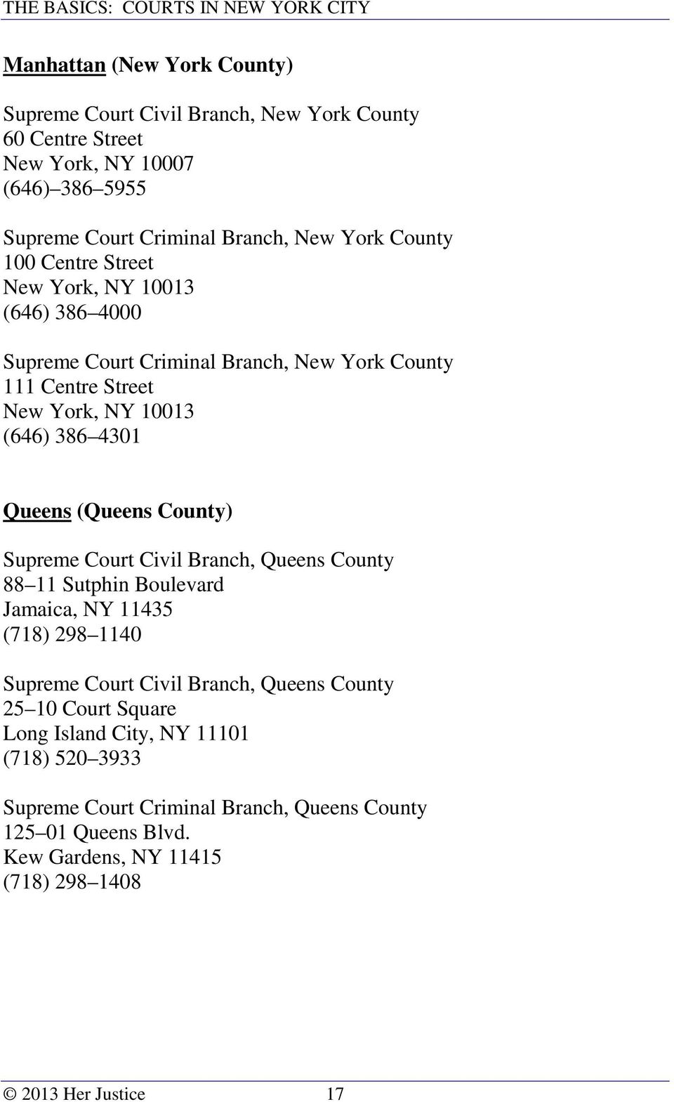 (Queens County) Supreme Court Civil Branch, Queens County 88 11 Sutphin Boulevard Jamaica, NY 11435 (718) 298 1140 Supreme Court Civil Branch, Queens County 25 10