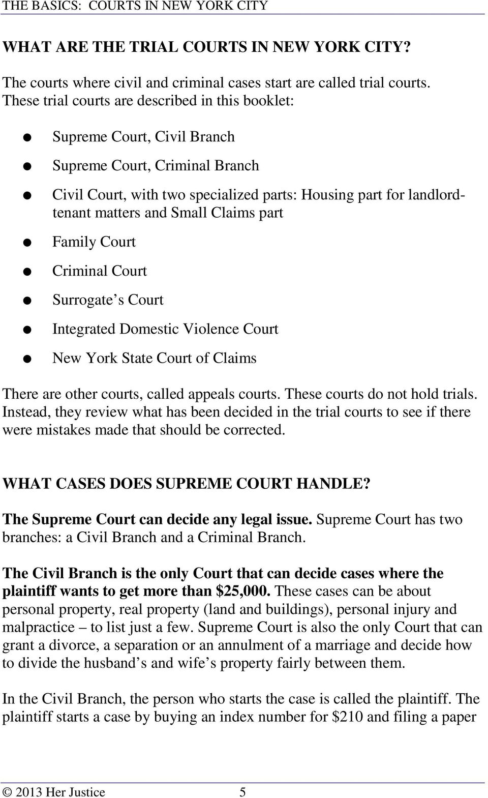 Claims part Family Court Criminal Court Surrogate s Court Integrated Domestic Violence Court New York State Court of Claims There are other courts, called appeals courts.