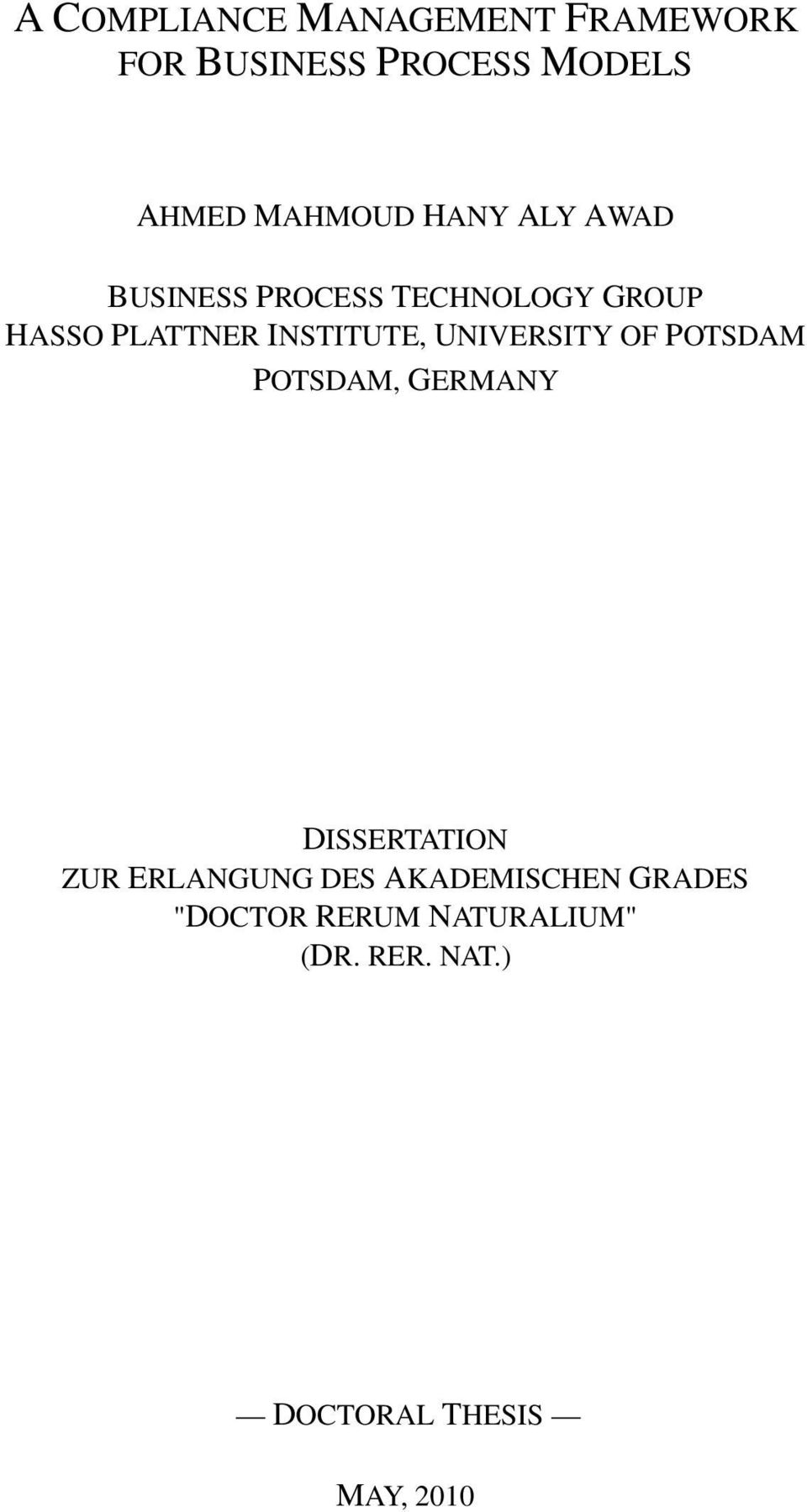 UNIVERSITY OF POTSDAM POTSDAM, GERMANY DISSERTATION ZUR ERLANGUNG DES