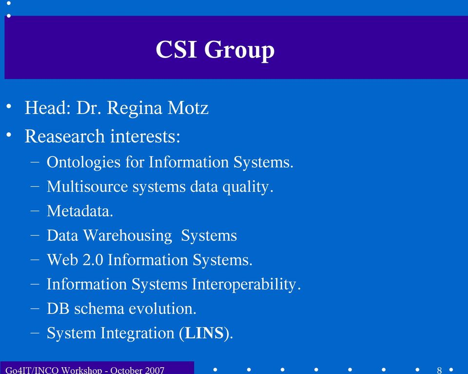 Multisource systems data quality. Metadata. Data Warehousing Systems Web 2.