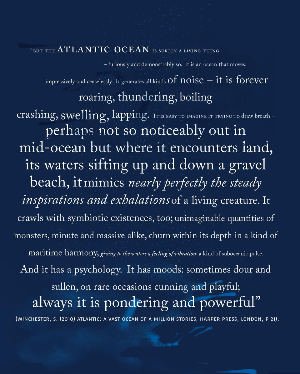 It is easy to imagine it trying to draw breath perhaps not so noticeably out in mid-ocean but where it encounters land, its waters sifting up and down a gravel beach, it mimics nearly perfectly the