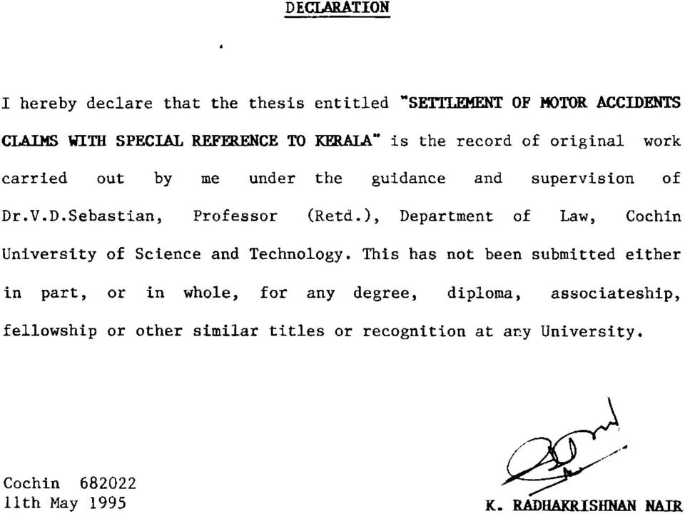 ), Department of Law, Cochin University of Science and Technology.