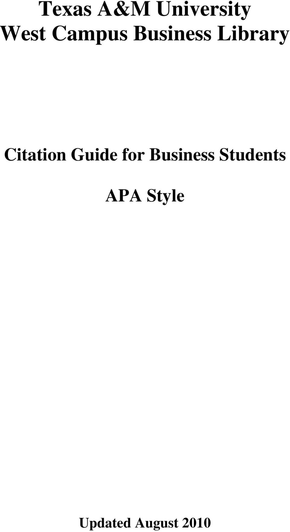 Citation Guide for