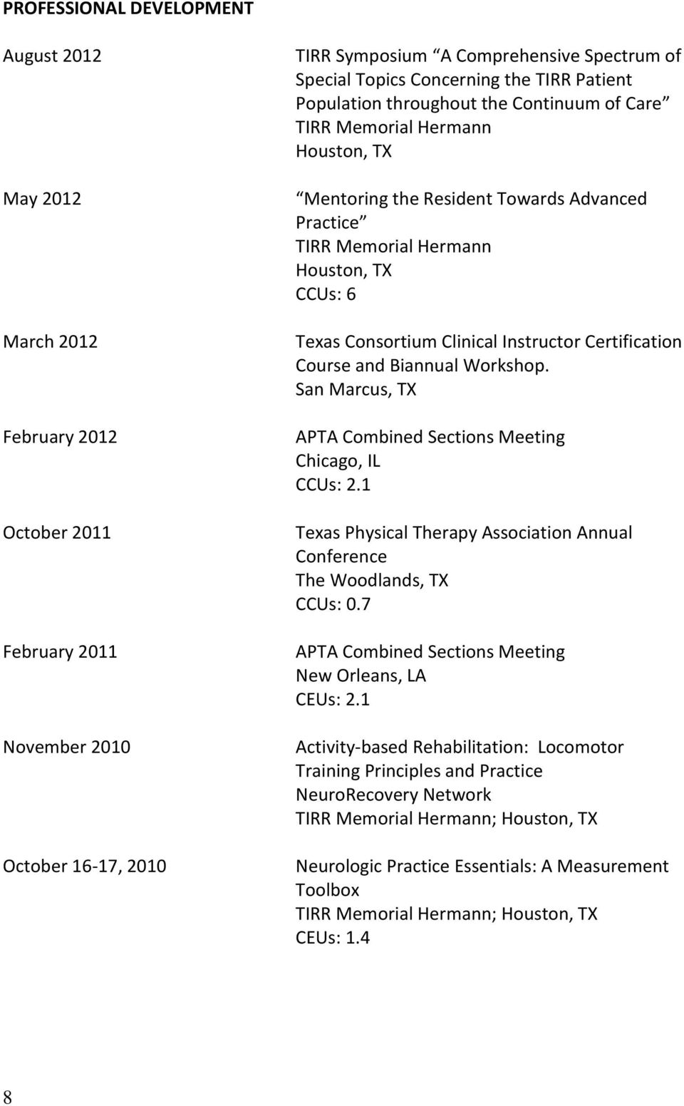 Texas Consortium Clinical Instructor Certification Course and Biannual Workshop. San Marcus, TX APTA Combined Sections Meeting Chicago, IL CCUs: 2.