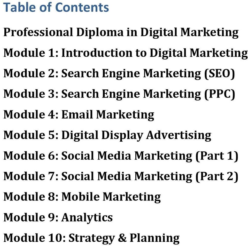 Email Marketing Module 5: Digital Display Advertising Module 6: Social Media Marketing (Part 1) Module