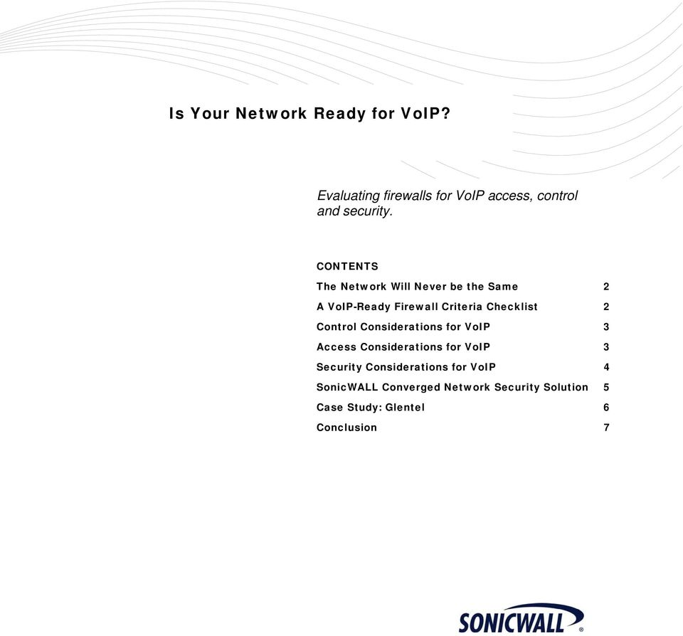 Control Considerations for VoIP 3 Access Considerations for VoIP 3 Security Considerations