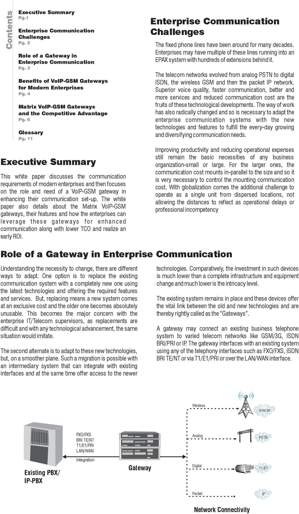 11 Executive Summary This white paper discusses the communication requirements of modern enterprises and then focuses on the role and need of a VoIP-GSM gateway in enhancing their communication