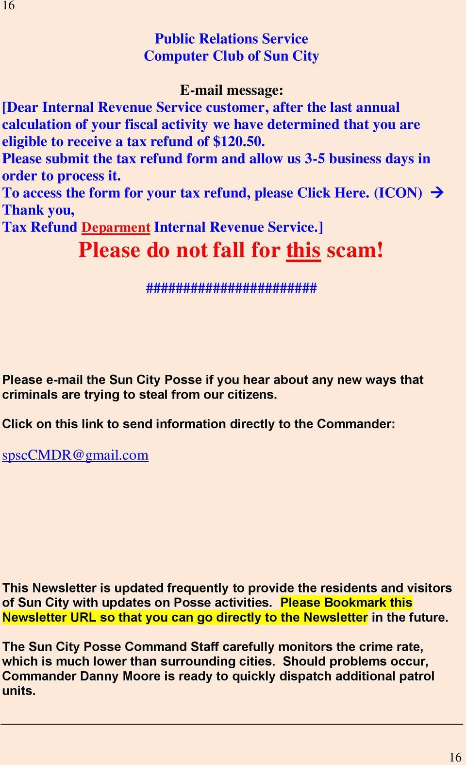 (ICON) Thank you, Tax Refund Deparment Internal Revenue Service.] Please do not fall for this scam!