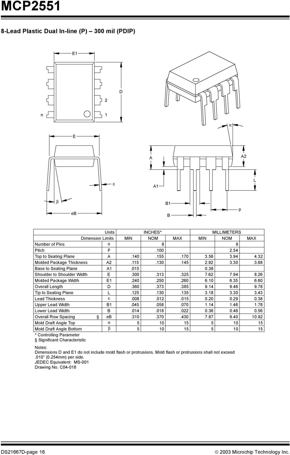 26 Molded Package Width E1.240.250.260 6.10 6.35 6.60 Overall Length D.360.373.385 9.14 9.46 9.78 Tip to Seating Plane L.125.130.135 3.18 3.30 3.43 Lead Thickness c.008.012.015 0.20 0.29 0.