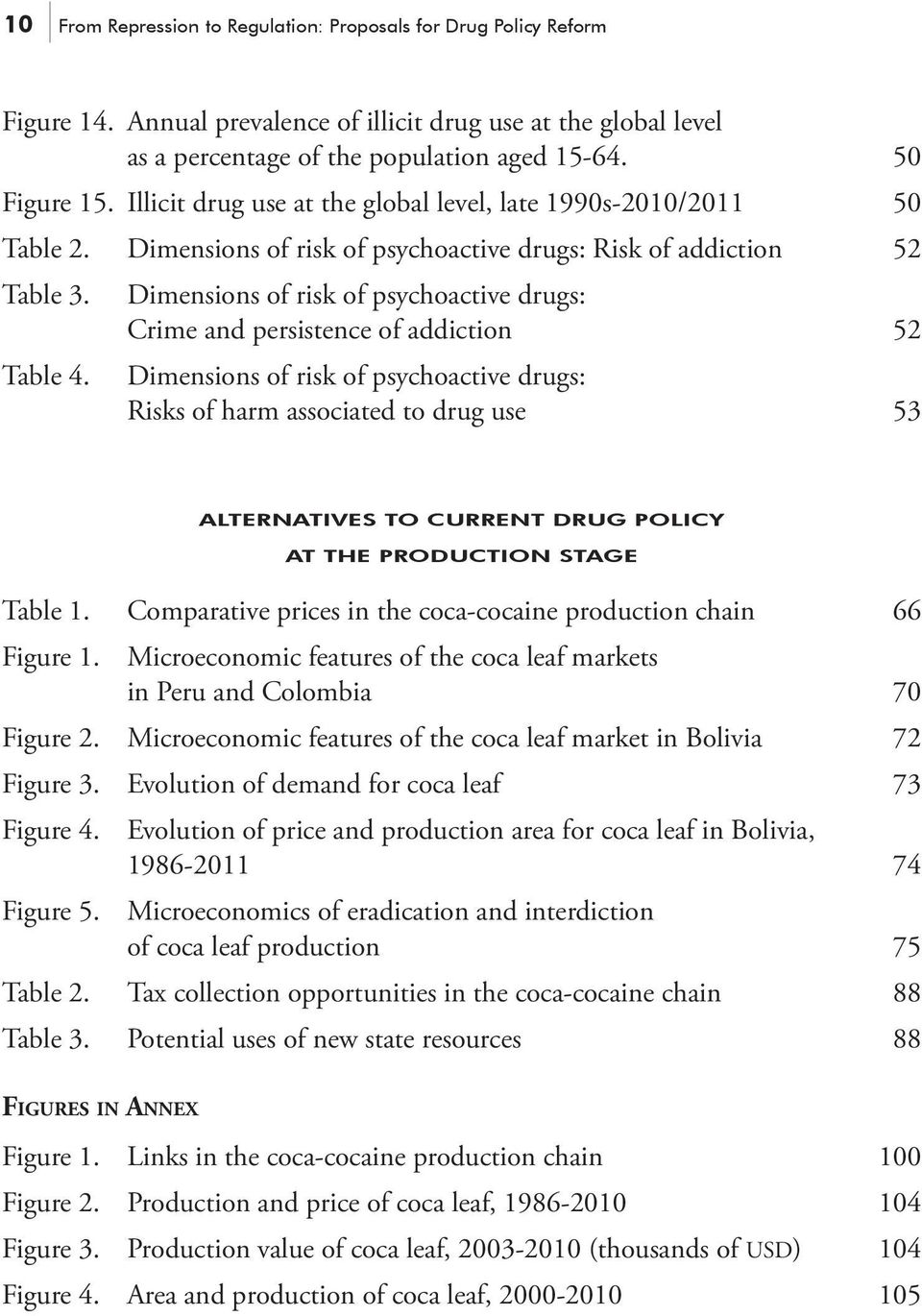 Dimensions of risk of psychoactive drugs: Crime and persistence of addiction 52 Dimensions of risk of psychoactive drugs: Risks of harm associated to drug use 53 ALTERNATIVES TO CURRENT DRUG POLICY