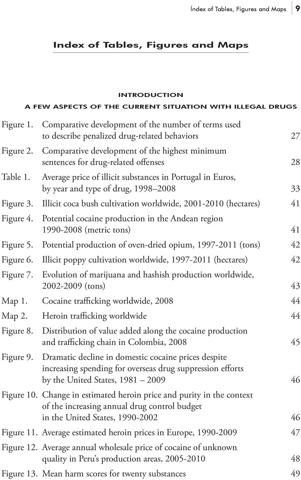 Comparative development of the highest minimum sentences for drug-related offenses 28 Average price of illicit substances in Portugal in Euros, by year and type of drug, 1998 2008 33 Figure 3.