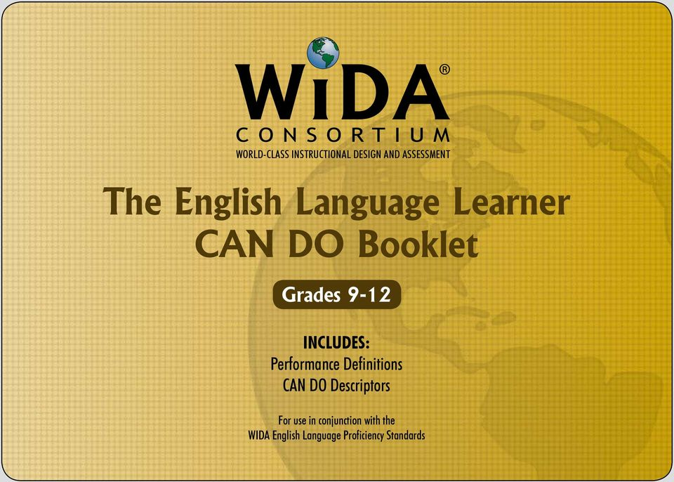 Includes: Performance Definitions CAN DO Descriptors For