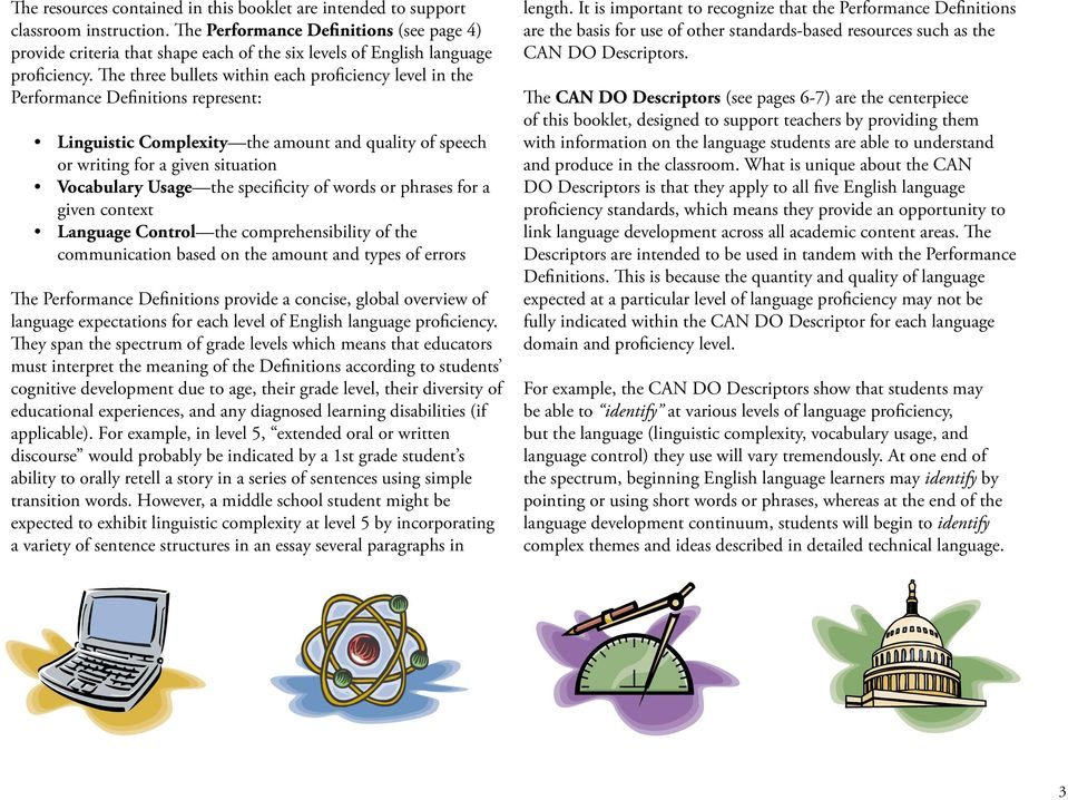 The three bullets within each proficiency level in the Performance Definitions represent: Linguistic Complexity the amount and quality of speech or writing for a given situation Vocabulary Usage the